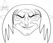 witch mask outline halloween coloring pages
