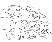 Printable cats and jack o lantern halloween coloring pages