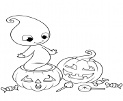 Printable cute ghost from jack o lantern halloween coloring pages