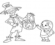 Printable scarecrow treats a little girl with sweets halloween coloring pages