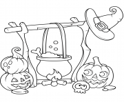 Printable jack o lanterns and a boiling cauldron halloween coloring pages