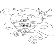 Printable owl in a witch hat halloween coloring pages