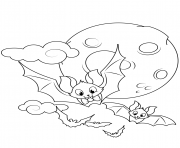 Printable cute flying bats halloween coloring pages