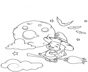 Printable cute little witch flying on a broomstick halloween coloring pages