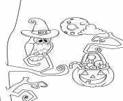 Printable owl and jack o lantern with candies halloween coloring pages