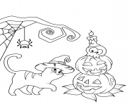 Printable cat and jack o lanterns halloween coloring pages