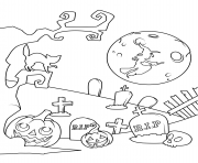 Printable cemetery with jack o lanterns halloween coloring pages