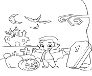 Printable cute count dracula in the cemetery halloween coloring pages