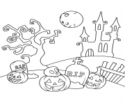 Printable scene in the cemetery halloween coloring pages