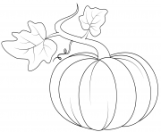 Printable pumpkin with leaves halloween fall coloring pages