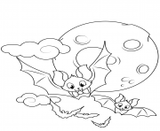 cute flying bats halloween coloring pages