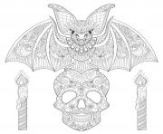 halloween adult bat sitting on skull coloring pages