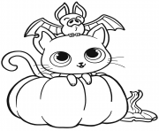 bat cat and pumpkin halloween coloring pages