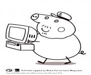 Printable grandpa computer peppa pig coloring pages