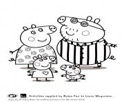peppa and family pyjama peppa pig coloring pages