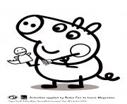 Printable george playing peppa pig coloring pages