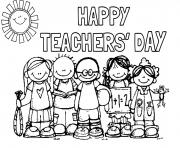 Printable happy teachers day students picture coloring pages
