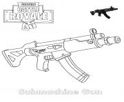 Printable Submachine Gun Fortnite coloring pages
