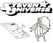 steven universe beach with opal coloring pages