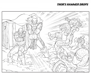 thors hammer drops avengers coloring pages