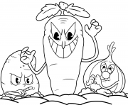 Printable cuphead carrot Botanic panic coloring pages
