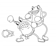 Printable cuphead frogs fight coloring pages