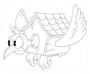 Printable cuphead bird house coloring pages