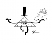 Printable gravity falls bill cipher fire coloring pages