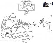 Printable fortnite scene shooting coloring pages