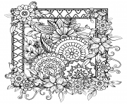 Printable adult with flowers pattern black and white doodle wreath floral mandala bouquet line coloring pages
