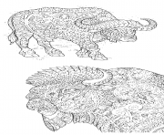 Printable adults with buffalo and bison antistress coloring pages