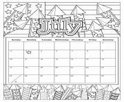 Printable july coloring calendar 2019 coloring pages