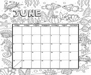 Printable june calendar month coloring pages