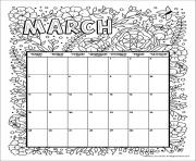 Printable march calendar 2019 flowers coloring pages
