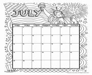 Printable july coloring calendar coloring pages