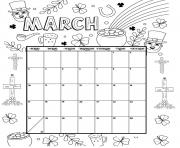 Printable march coloring calendar 2019 coloring pages