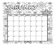 Printable january coloring calendar 2019 coloring pages