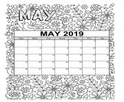 Printable may calendar 2019 summer coloring pages