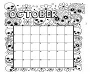 october coloring calendar coloring pages