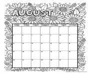 Printable august calendar coloring pages
