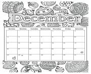 Printable december calendar holiday coloring pages
