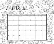 Printable april calendar easter coloring pages