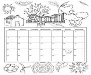 Printable april school calendar 2019 coloring pages