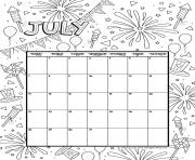 Printable july 2019 coloring calendar coloring pages