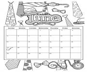 Printable june 2019 calendar summer coloring pages