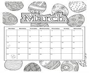 Printable march calendar easter 2019 coloring pages
