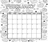 Printable february coloring calendar valentines coloring pages