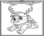 Paw Patrol Holiday Christmas Rubble coloring pages