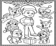Printable Paw Patrol Holiday Christmas coloring pages