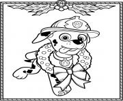 Printable Paw Patrol Holiday Christmas Marshall coloring pages